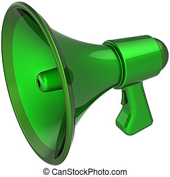 verde, megafone, acordo, notificar