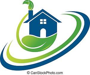 verde, mette foglie, casa, logotipo