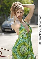 verde, modelo, moda, vestido