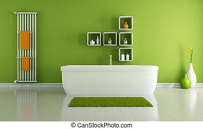 verde, moderno, cuarto de baño