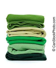 verde, mucchio, piegato, vestiti