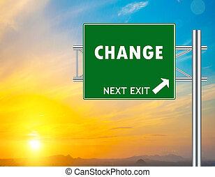verde, mudança, sinal estrada
