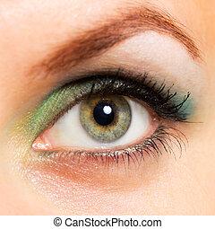 verde, mulher, olho