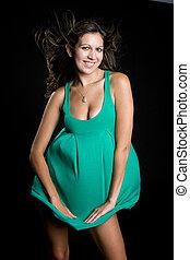 verde, mulher, vestido