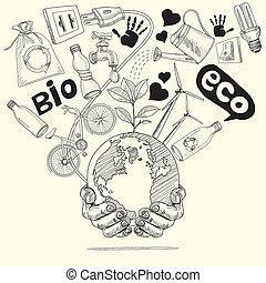 verde, mundo, concept., árvore, ligado, terra, em, hands.