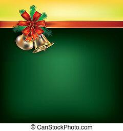 verde, nastri, augurio, regalo, natale