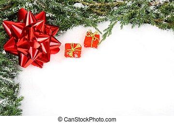verde, natal, quadro, com, arco vermelho, fita