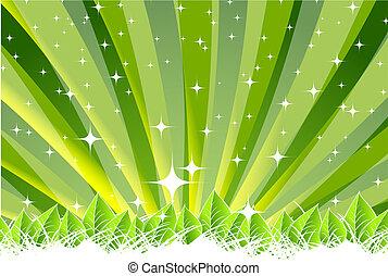 verde, natura, foglia, concetto
