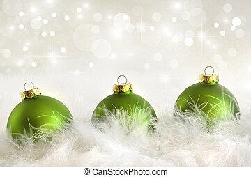 verde, navidad, pelotas, con, feriado, plano de fondo