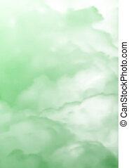 verde, nebbia, nubi, struttura, illustrazione