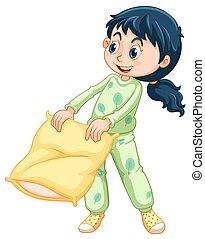 verde, niña, pijama