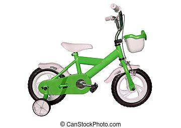 verde, niños, bicicleta