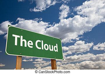 verde, nuvola, segno strada