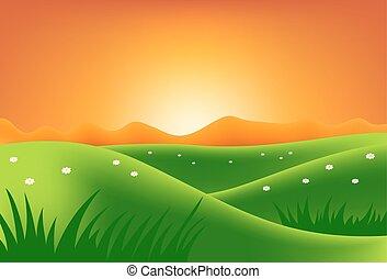 verde, ocaso, colinas