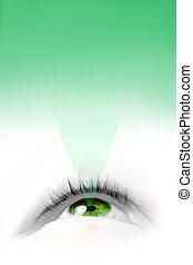 verde, olho flutuante