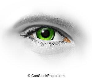 verde, olho humano