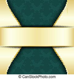 verde, oro, plantilla