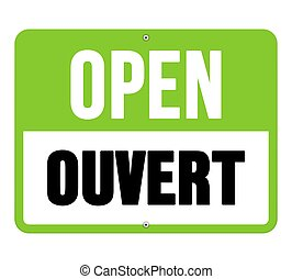 verde, ouvert, negro, señal