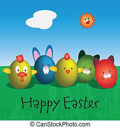 verde, ovos, mea, caráteres, páscoa