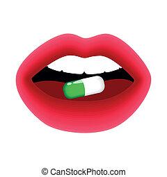 verde, pílula, em, mulher, boca, vetorial