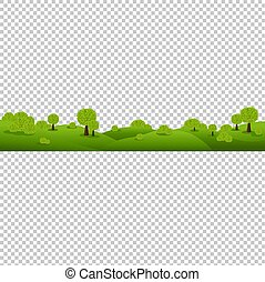 verde, paesaggio natura, isolato, trasparente, fondo
