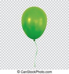 verde, pallone elio, isolato, su, trasparente, fondo.