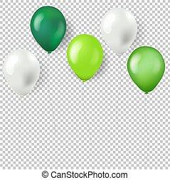 verde, palloni, isolato, fondo, trasparente