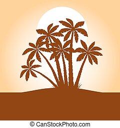 verde, palma, árboles., vector, illustration.