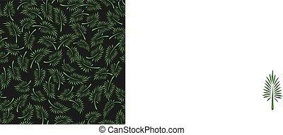 verde, palma, leaves., floral, seamless, pattern., vector.