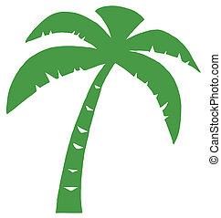 verde, palma, tres, silueta