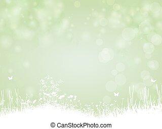 verde, papel, plano de fondo, con, mariposa, y, plantas