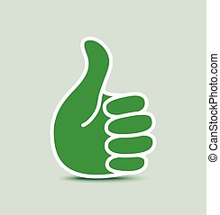 verde, papel, pulgar up, icono