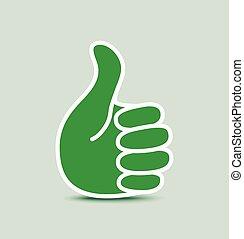 verde, papel, pulgar up, icono