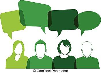 verde, parlante, persone