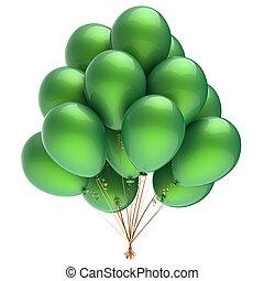 verde, partido, balões