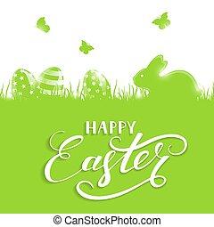 verde, pascua, plano de fondo, con, huevos, y, conejo