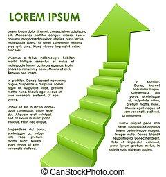 verde, passos, seta, conceito negócio