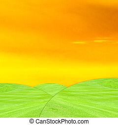 verde, pasto o césped, crepúsculo, cielo