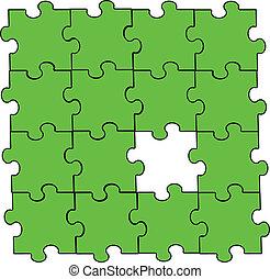verde, pedazo del rompecabezas, asamblea