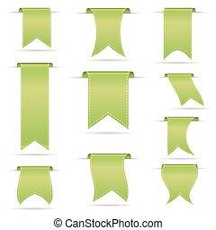 verde, penduradas, curvado, fita, bandeiras, jogo, eps10