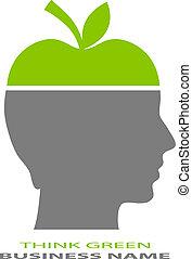 verde, pensar, icono