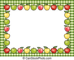 verde, percalle, bordo, mela, cornice