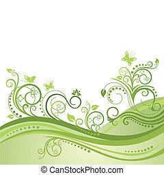 verde, piante, fiori, &, farfalle