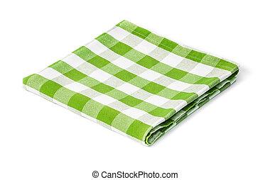 verde, picnic, tovaglia, isolato