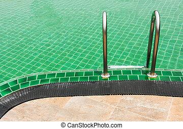 verde, piscina, degrau, natação