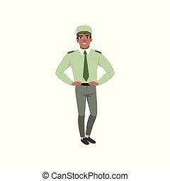 verde, plano, pants., corbata, gris, akimbo., camisa, gorra, brazos, joven, vector, posar, oficial, fuerzas, militar, diseño, clothes:, hombre, armado, formal