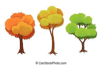 verde, planta perenne, tronco, hojas, ilustración, árbol, corona, conjunto, vector, naranja, ramas, planta