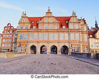 verde, portão, em, gdansk, polônia