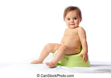 verde, potty, divertente, bambino sedendo