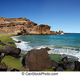 verde, praia areia